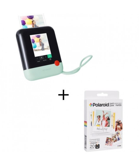 "POLAROID POLPOP1G Appareil photo numérique instantané - Vert + POLAROID POLZL3X420 Papier photo 3""x4"""