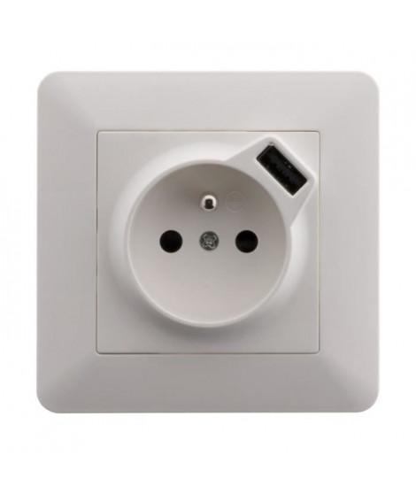 ARTEZO Prise  avec terre 2P+T 16 A encastrable avec prise USB (2,4 A) blanc