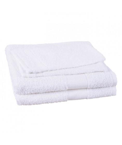 JULES CLARYSSE Lot de 2 serviettes + 2 gants de toilette Viva - Blanc