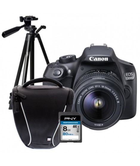 CANON EOS 1300D + 18-55 DFIN Appareil photo Reflex + Carte 8Go + Sacoche + Trépied