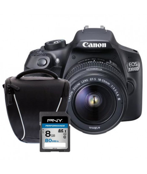 CANON EOS 1300D + 18-55 DFIN Appareil photo Reflex + Carte 8Go + Sacoche