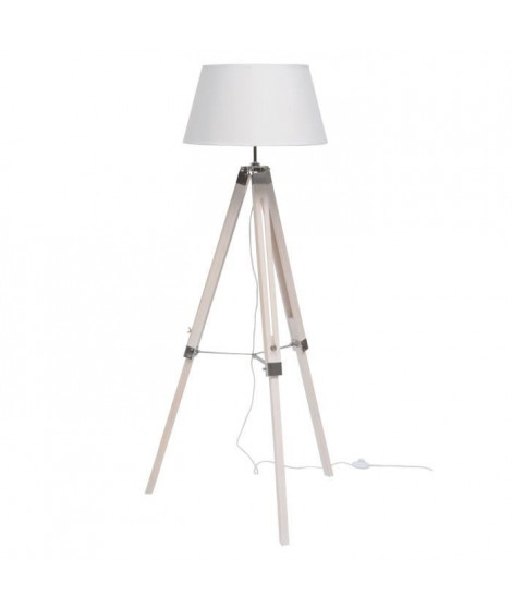 NATURE lampadaire bois  blanc abat-jour blanc