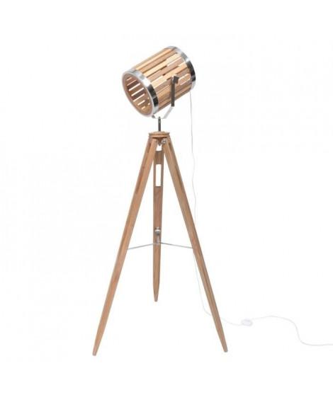 SPOT lampadaire pieds bois abj bois/métal