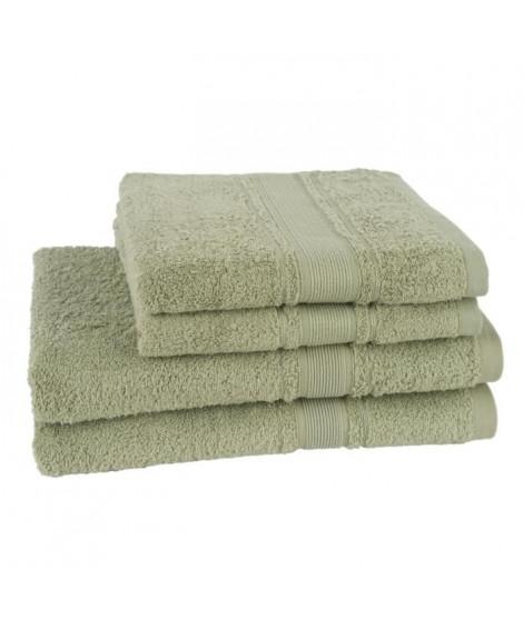 JULES CLARYSSE Lot de 2 draps de bain + 2 serviettes ROYALE - Vert Olive
