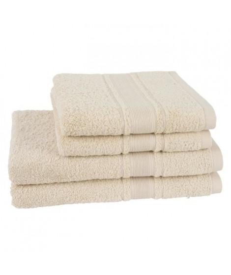 JULES CLARYSSE Lot de 2 draps de bain + 2 serviettes ROYALE - Ivoire