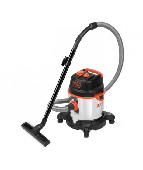 BLACK & DECKER Aspirateur eau et poussiere1400 W cuve 20 L en inox avec prise pour outil électroportatif
