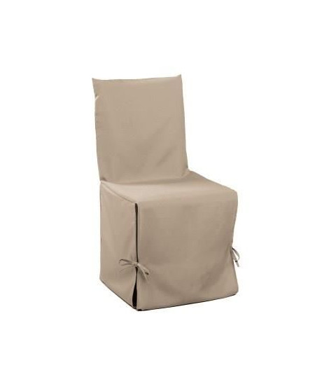 DOUCEUR d'INTERIEUR Housse de chaise unie a nouettes 50x50x50 cm Essentiel lin