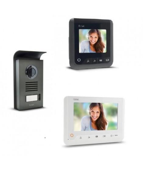 """EXTEL Visiophone Nova 2 fils blanc avec 2 écrans couleur 7"""" a mémoire de passage"""