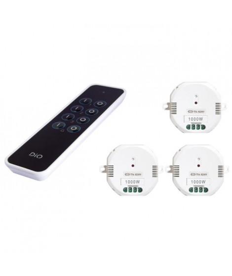 CHACON Kit 3 modules DiO 1000 W avec télécommande 3 canaux