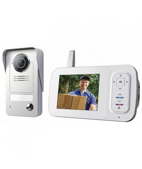 """SMARTWARES Interphone vidéo couleur sans fil 3,5"""" avec combiné portable VD38W"""