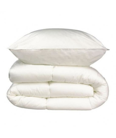Pack linge de lit Microfibre - 1 Couette 140x200 cm + 1 Oreiller 60x60 cm blanc