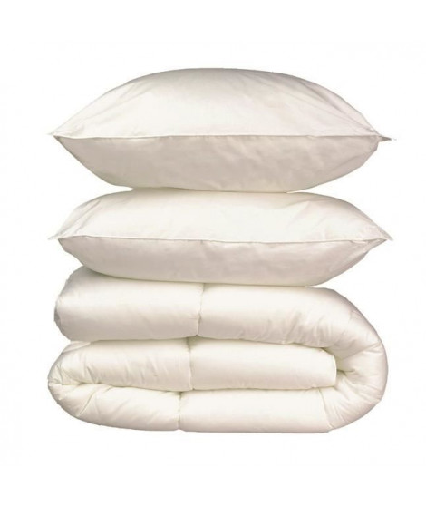 Pack linge de lit Microfibre - 1 Couette 200x200 cm + 2 Oreillers 60x60 cm blanc