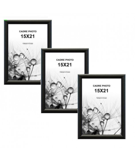 MODENA Lot de 3 cadres photos 15x21 cm Noir mat