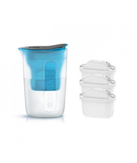 Pack BRITA Carafe filtrante FUN Bleu + 3 Cartouches de rechange