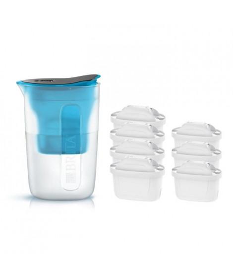 Pack BRITA Carafe filtrante FUN Bleu + 7 Cartouches de rechange