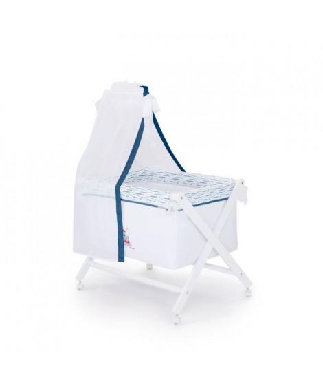 LULU CASTAGNETTE  Berceau complet (Bois + Textile + Ciel de Lit) Coton Brodé Lulu Apolo 55x85 cm Bleu
