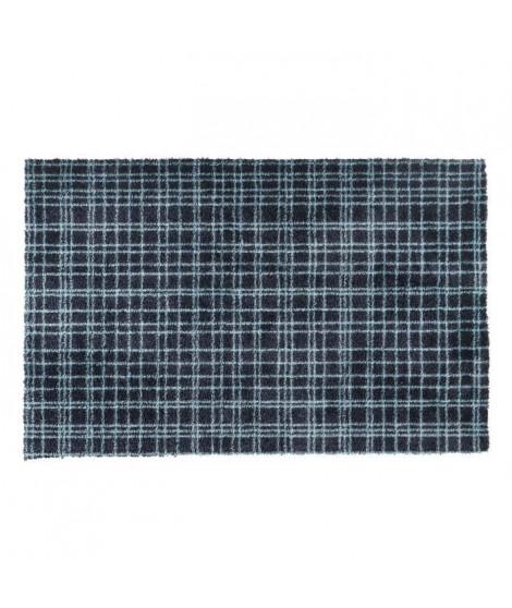 Tapis d?entrée FUSION DRY - Noir rayé bleu - 60x100 cm - Support vinyl antidérapant