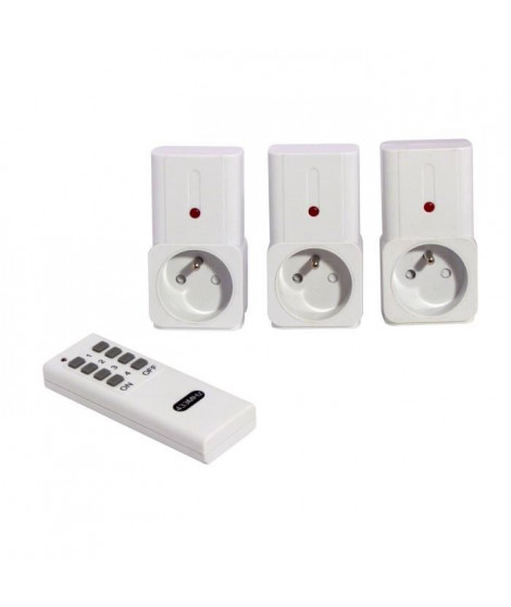 CHACON Kit de 3 prises télécommandées on/off avec télécommande 2000W