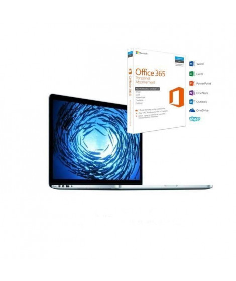 "APPLE Macbook Pro + Office 365 Personnel -15,4"" Rétina - Intel Core i7 Quad Core - RAM 16Go - Iris Pro Graphics - Stockage 25…"