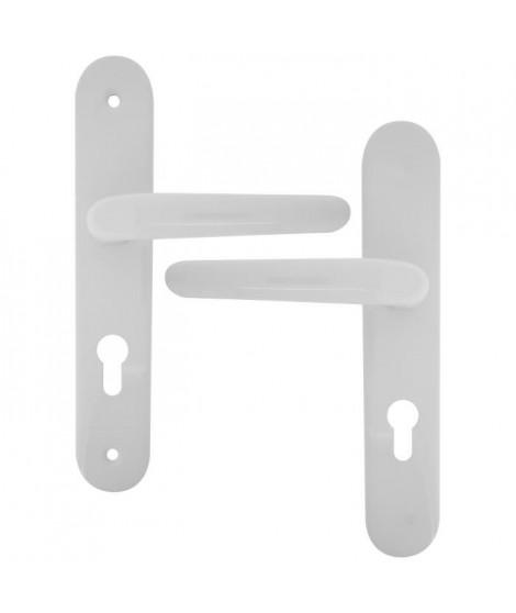 ALPERTEC Ensemble de poignées de porte d'entrée Flavia - Alu blanc sur plaque de 40mm - Cylindre
