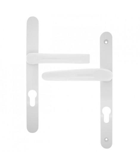 ALPERTEC Ensemble de poignées de porte d'entrée Flavia saillie réduite en - Alu blanc sur plaque étroite - Cylindre