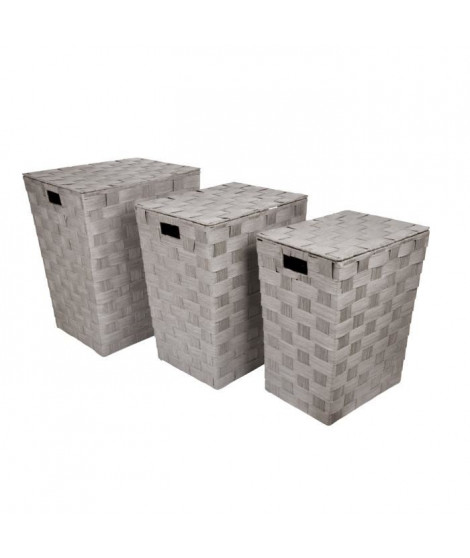 HOMEA Set de 3 coffres a linge avec couvercle H46-50-54cm taupe