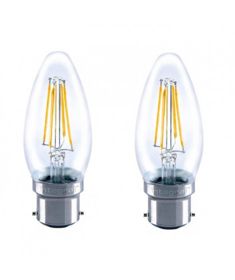 INTEGRAL LED Lot de 2 ampoules flamme B22 filament 4 W équivalent a 36 W 2700 K 420 lm