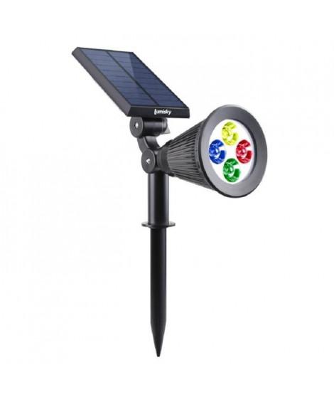 LUMISKY Spot solaire extérieur étanche - 4 LEDs RGB - 200 Lm - Tete pivotante a 90°C