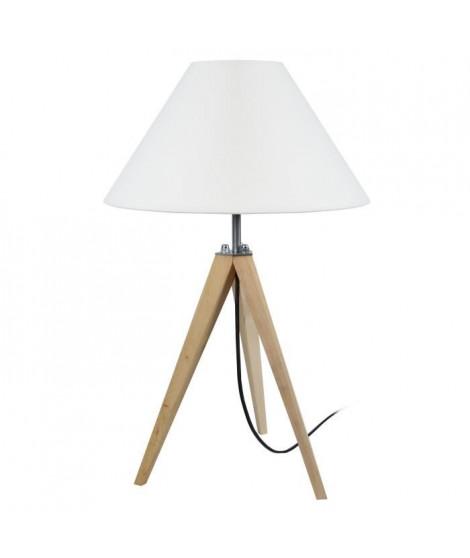TOSEL Lampe a poser trépied en bois naturel avec abat-jour empire en coton écru Idun E27 30x56 cm