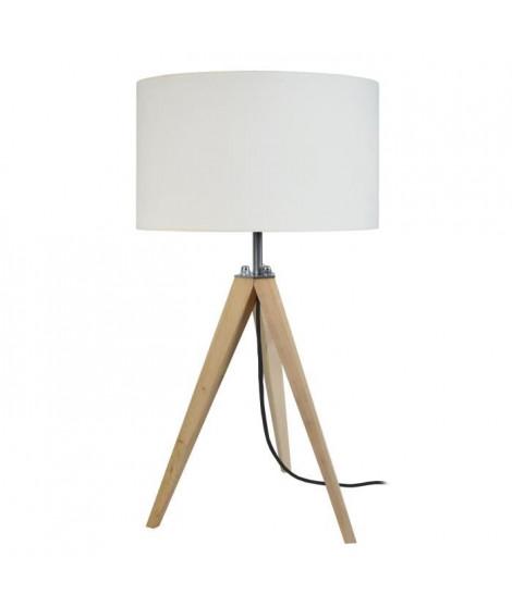 TOSEL Lampe a poser trépied en bois naturel avec abat-jour cylindrique en coton écru Idun E27 30x56 cm