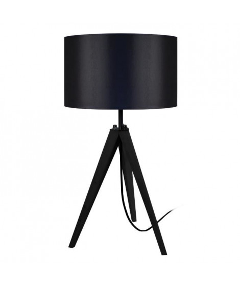 IDUN Lampe a poser trépied en bois naturel avec abat-jour cylindrique en coton noir  E27 30x56 cm