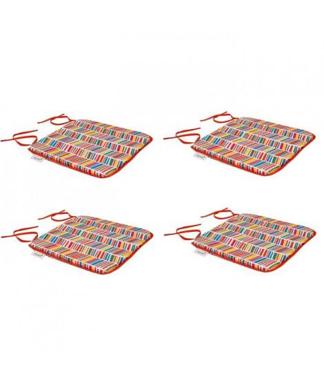 EZPELETA Set de 4 galettes de chaises carrées Sol - 40x40 cm - Rouge et multicolore