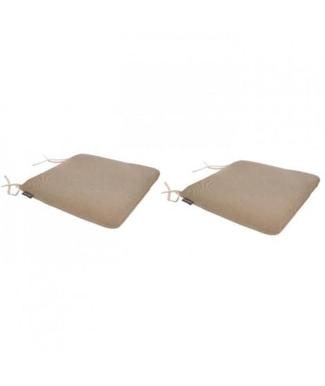 EZPELETA Lot de 2 Galettes de chaise spécial Outdoor GREEN - 40x40 cm - Beige