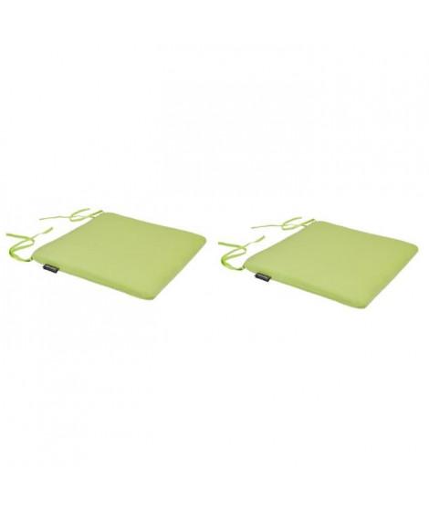 EZPELETA Lot de 2 Galettes de chaise spécial Outdoor GREEN - 40x40 cm - Lime