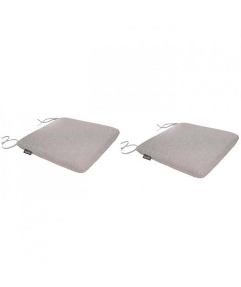 EZPELETA Lot de 2 Galettes de chaise spécial Outdoor GREEN - 40x40 cm - Gris clair