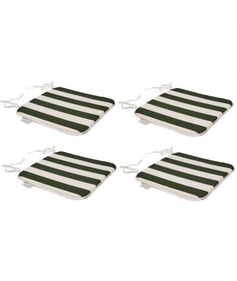 EZPELETA Set de 4 galettes de chaises carrées SOL - 40x40 cm - Vert et blanc rayé