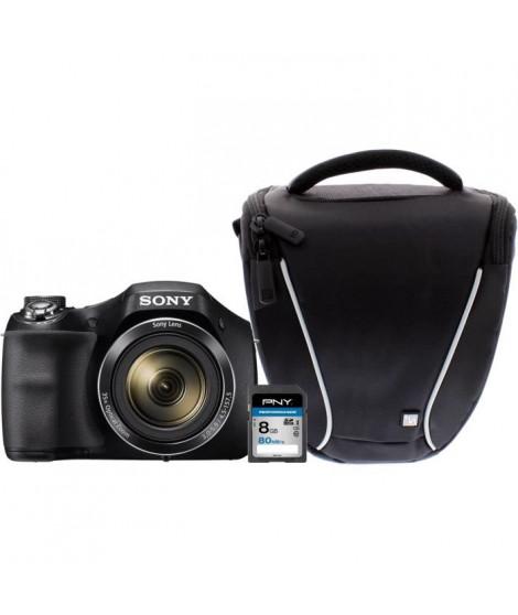 Appareil photo numérique bridge SONY DSC-H300B avec carte mémoire 8GB et sacoche