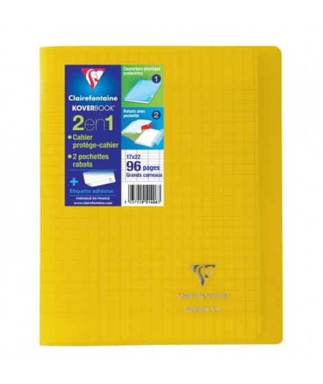 CLAIREFONTAINE Cahier piqûre Koverbook - 96 pages - 17 x 22 cm - 90 g - Jaune