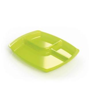 PLASTOREX Plateau Bébé 3 Compartiments Micro Ondable Opaque/Tilleul