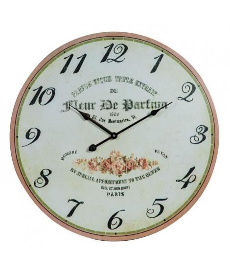 Horloge murale vintage en bois - Ø50 x 2 cm - Motif imprimé floral