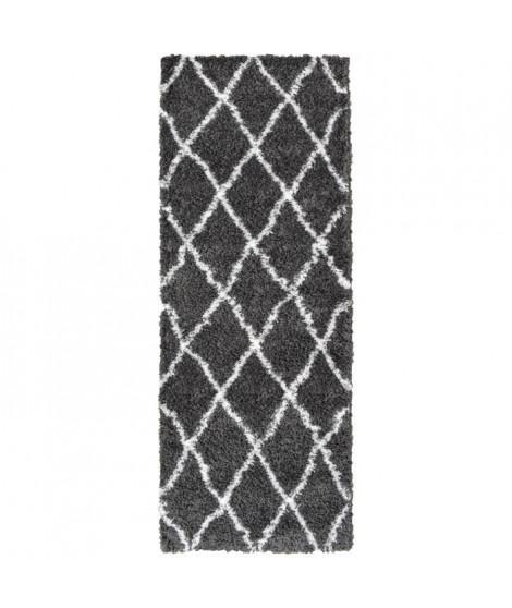 ASMA Tapis de couloir Shaggy Berbere- 100% polypropylene - 67x180 cm - Gris anthracite