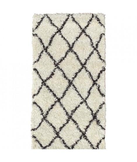 ASMA Tapis de couloir Shaggy Berbere - 100% polypropylene - 80x140 cm - Blanc creme