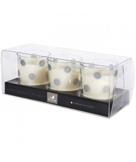 LE CHAT Coffret de 3 bougies parfumées - 19,5x7,5 cm - Décors pois argent