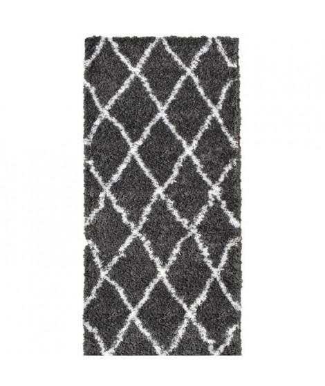 ASMA Tapis de couloir Shaggy Berbere - 100% polypropylene - 80x140 cm - Gris anthracite