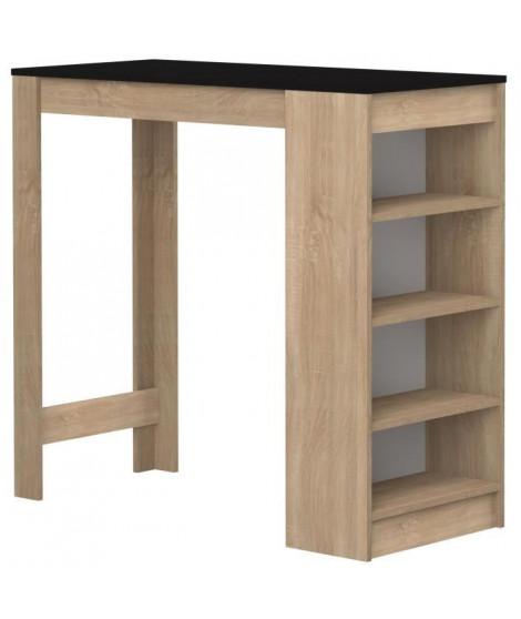 Table bar de 4 a 6 personnes style contemporain décor chene et noir mat - L 115 x l 50 cm