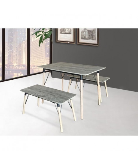 BRANTFORD Ensemble table et chaises de 4 a 6 personnes contemporain en métal ivoire et MDF gris - L 110 x l 70 cm