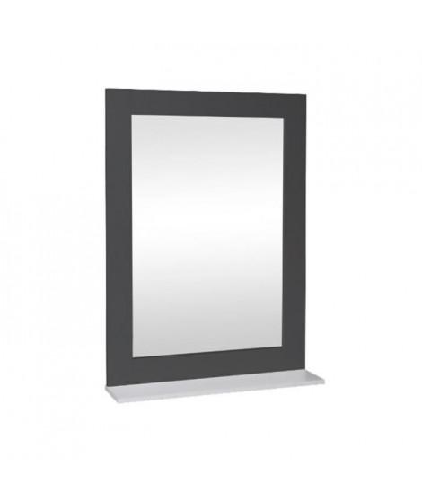 Miroir de salle de bain 50 cm - Laqué gris brillant et blanc
