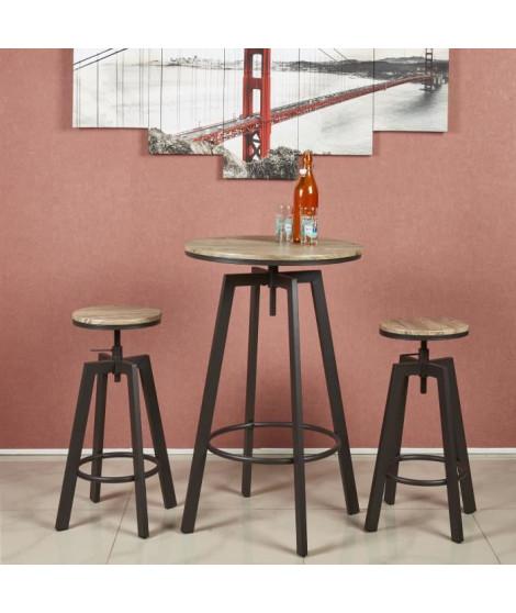 HALIFAX Ensemble mange debout et tabouret de 2 a 4 personnes industriel en métal noir et MDF décor chene - L 60 x l 60 cm