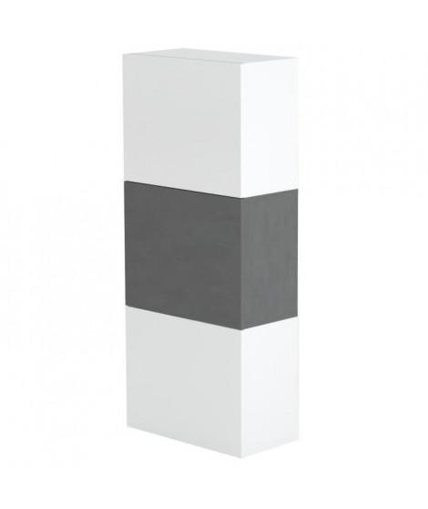 MAYA Meuble a chaussures contemporain mélaminé laqué blanc et décor ardesia - L50 cm