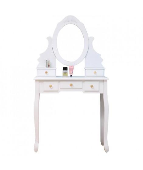 Coiffeuse classique blanche + tabouret - L 80 cm